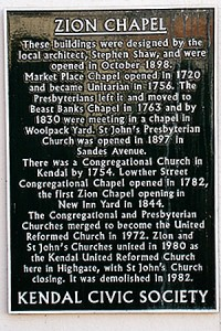Zion Chapel Plaque